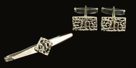 Vintage Mid Century Modernist Sterling  Israel Reuven Cufflinks Tie Bar ... - $80.99