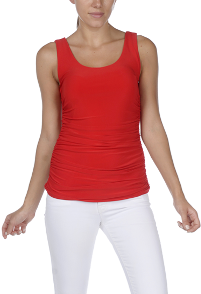 Vibrant Red Double-Scoop Side-Rouched Tank by Last Tango - EXTRA 10% Off!