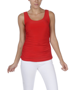 Vibrant Red Double-Scoop Side-Rouched Tank by Last Tango - EXTRA 10% Off! - $26.90