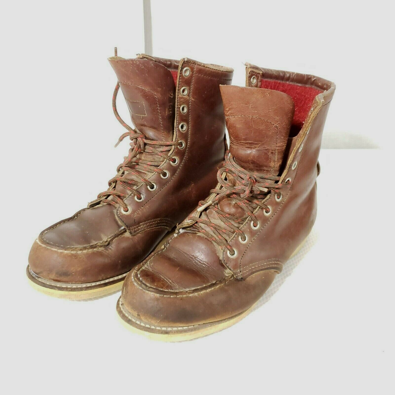 Vintage 60s Red Wing Boots 8.5 Moc Toe Red Wool Lined Crepe Sole USA Made