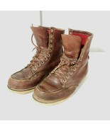 Vintage 60s Red Wing Boots 8.5 Moc Toe Red Wool Lined Crepe Sole USA Made - $197.96