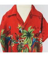 Rina Boys XL Hawaiian Aloha Red Parrot Palm Trees Mini Me Shirt Weld Poc... - $29.69
