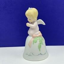 Angel figurine vintage porcelain sculpture Christmas Lefton bell christo... - $19.60