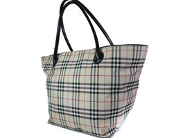 Auth BURBERRY LONDON BLUE LABEL Nova Check Nylon Canvas, Leather Beige T... - $147.51