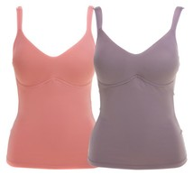 Rhonda Shear Everyday Molded Cup 2 Pack Camisole in Coral Cloud/Mocha, Large - $34.64
