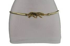 Women Gold Metal Stretch Waistband Fashion Belt Tiger Panther Leopard Buckle S M - $19.59