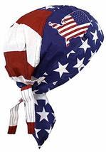 American Flag Patriotic Red White Blue Biker Skull Cap Bandana Head Wrap USA (On - £6.16 GBP