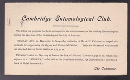 CAMBRIDGE ENTOMOLOGICAL CLUB STONEHAM MASS AUGUST 13 1907 ON 1C POSTAL CARD - $2.98