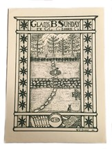 Ex Libris Exlibris Bookplate Gladys William Sunday George Washington Button - $29.69