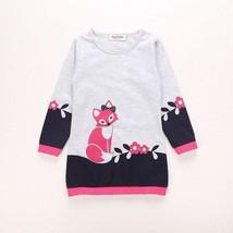 NEW Girls Fox Long Sleeve Gray Sweatshirt Sweater Dress 2T 3T 4T 5T 6 - $10.99