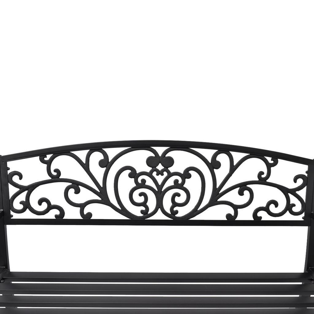 "50"" Outdoor Patio Park Garden Bench Porch Chair Steel Frame Cast Iron Backrest image 4"