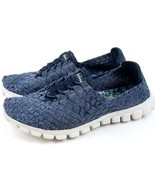 Womens Grey Skechers 22837 Memory Foam Sneakers Casual Slipons 7 Navy Blue - $25.89