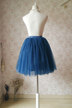 Navy Midi Tulle Skirt Women Girl Tulle Tutu Skirts with Bow Plus Size image 3