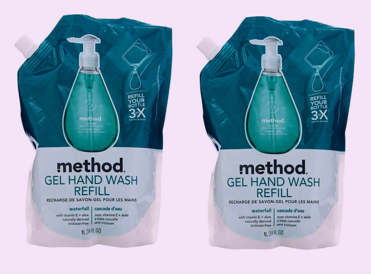 ( LOT of 2 ) MethodGel Hand Wash Refill Pouch, Waterfall, 34 Oz Each NEW - $32.99