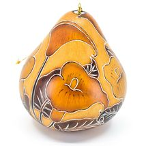 Handcrafted Carved Gourd Art Calla Lilies Flower Floral Ornament Made in Peru image 3