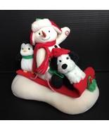 Hallmark 2007 Jingle Pals Animated Sled Sleigh Singing Snowman Dog Pengu... - £14.54 GBP