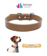 Colored Leather Dog Collars with Personalized Pet ID Tag - $8.99+