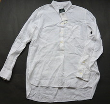 Ralph Lauren Shirt S Linen High Low Step Hem White Boyfriend NWT - $39.95
