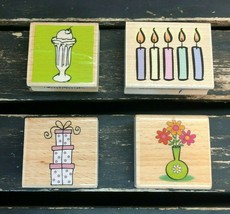Wooden Stamp Collection Set Four Candle Gift Flower Ice Cream Birthday USA Lot 4 - $7.19