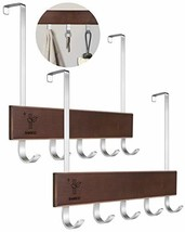 Over The Door Hook Bamboo Door Hanger with 5 Hooks Door Hooks for Hanging Clothe