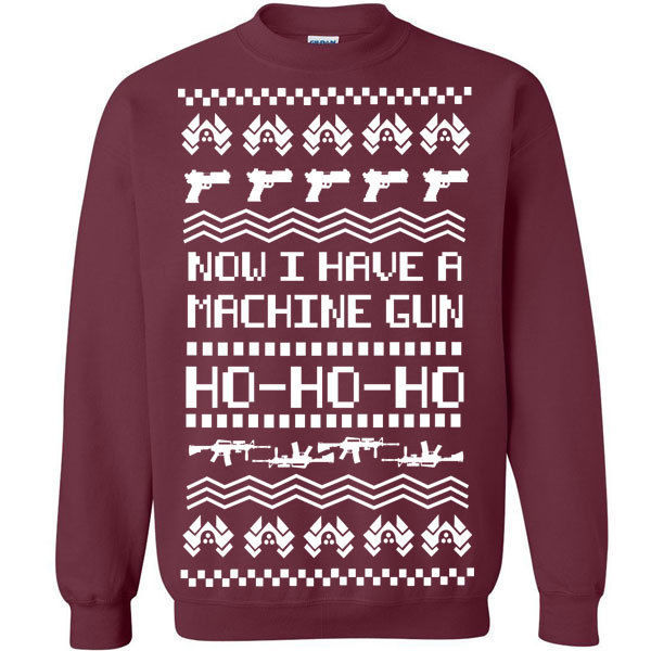 533 machine gun ho ho ho ugly christmas sweater die movie 90s hard holiday funny 2000 2500
