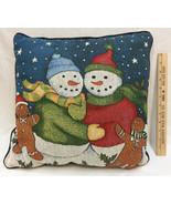 "Pillow Throw Snowman Hugging Snowmen Tapestry Blue Decorative 16"" Christmas - $18.80"