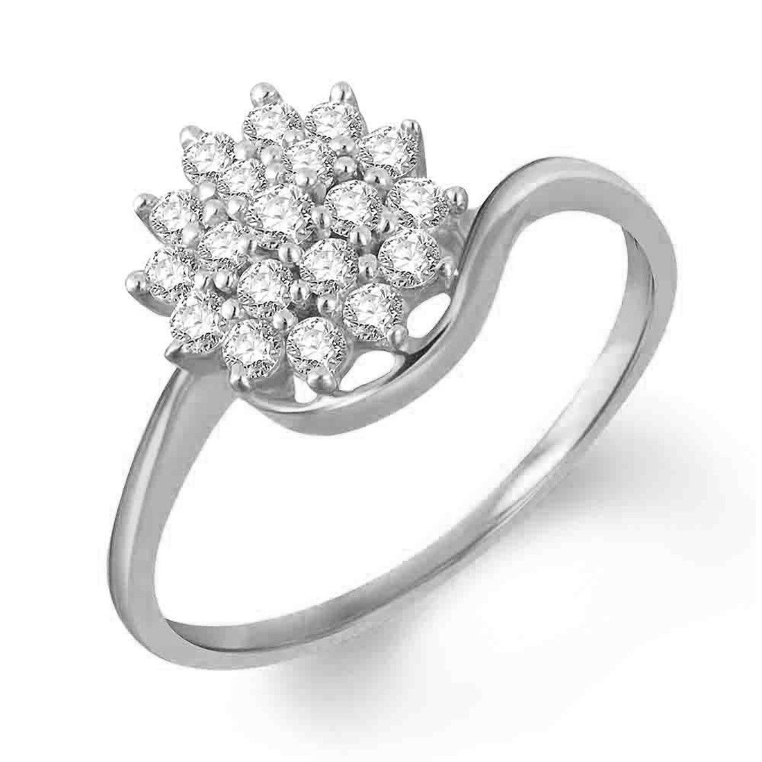 Primary image for 14k White Gold Over 925 Silver Diamond Cluster Ring Flower Ring Women Jewelry