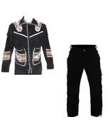 New Men's Native American Buckskin Black Suede Leather Jacket & Pant WSP02 - $177.31