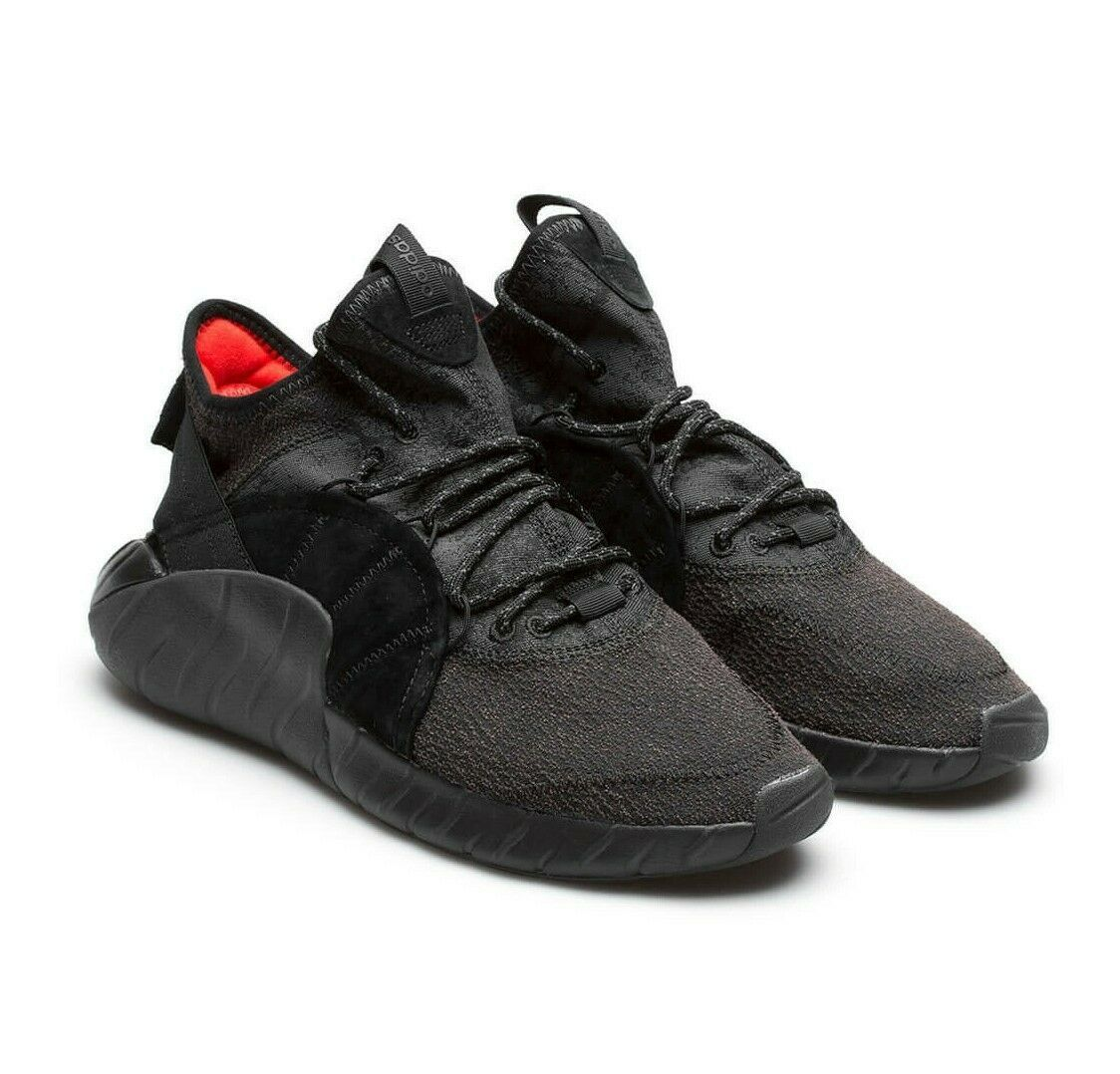 Adidas Tubular Rise Core Black Red BY3557 Mens Casual Shoes Size 9.5
