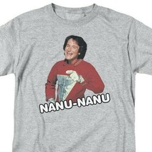 Mork & Mindy Nanu Nanu T-shirt retro 70s classic tv Robin Williams gray CBS1552 image 1