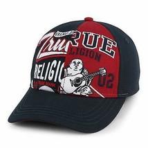 True Religion Men's Embroidered Buddha Adjustable Strapback Hat Cap Ace Blue