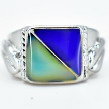Geometric Square Triangle Color Changing Contrasting Silver Painted Mood Ring image 4