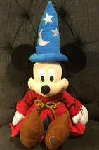 "Disney Store Mickey Mouse Plush 18-22"" Fantasia Wizard Sorcerer Soft Toy... - $9.99"
