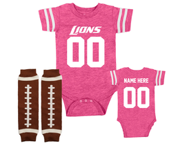 Detroit  Lions Custom Onesie Girls Personalized Pink Jersey - $22.95+