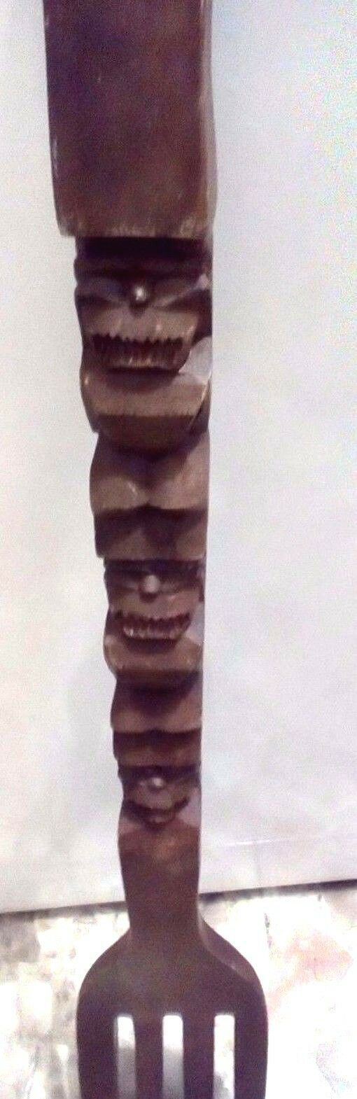 """Large Wooden Tiki Carved Fork 28"""", Made in Philippines, Wall Hanging"""