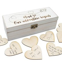 Personalized Wedding Guest Book with Hearts, Custom Rustic Wedding Guest... - $15.83