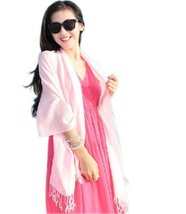 Tassel Fringe Style Sun Protection Solid Infinity Pashmina Beach Scarf Pink