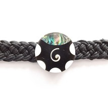 BLACK MODERN LEATHER WOVEN TIE ON FRIENDSHIP BRACELET WITH ABALONE SHELL, SWIRL image 2