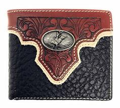 Western Genuine Leather Floral Tooled Rodeo Concho Mens Short Bifold Wallet - $25.99