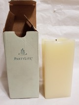 """Partylite Spiced Vanilla Ivory square 3"""" x 6"""" square pillar candle LIT - $18.80"""