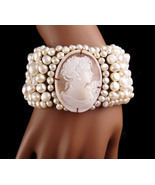 LARGE Italian Pearl Bracelet - Amedeo carved cameo - Baroque pearl cuff ... - $425.00