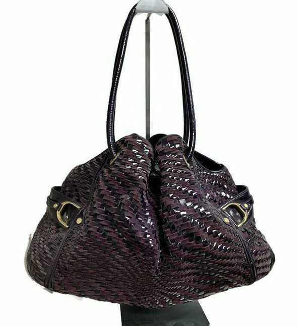 Primary image for Cole Haan Genevieve Denney Extra Large Woven Patent Leather Suede Weave Hand Bag