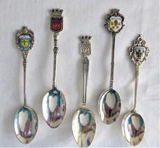 Spoons Silver European 5 Souvenir Spoons 800 Enamel Paris Munich Vatican French - $48.00