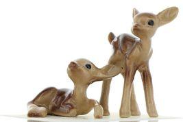 Hagen Renaker Miniature Deer Baby Fawn Standing & Lying Ceramic Figurine Set image 4