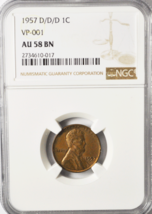 1957 D/D/D 1c Lincoln Wheat One Cent Penny VP-001 AU58 BN NGC - $64.94