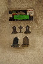Rare Lemax Spooky Town Tombstones Set Of 5 #44145 Halloween In Package - $14.99