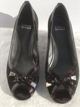 Stuart Weitzman TutiFruitti Black Crepe Tortoise Patent Leather Kitten Heel 7.5W - $88.11