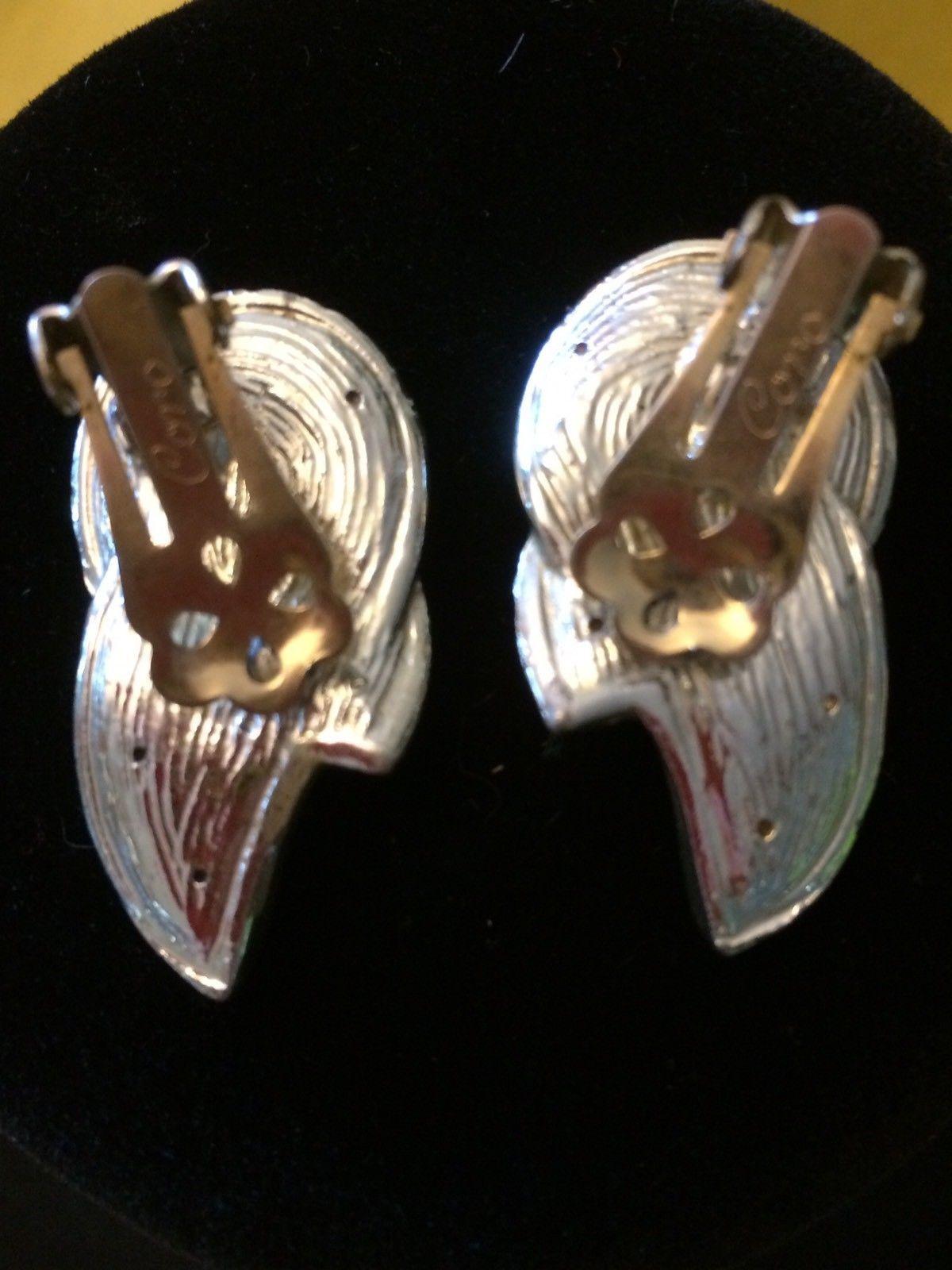 EARRING 1940 CORO Silver Vintage Earrings Clip On Jewelry Art Deco Rhinestone