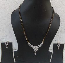 Bridal Jewelry Set Black Beads Chain Pendant Ethnic Indian Diamante Mang... - $9.49