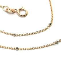 """18K ROSE & WHITE GOLD CHAIN MINI THIN ROLO 1mm ALTERNATE FACETED CUBES 16"""" image 2"""